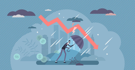 Recession financial storm concept, tiny business person vector illustration Fotobehang
