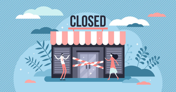 Closed business concept, flat tiny persons vector illustration