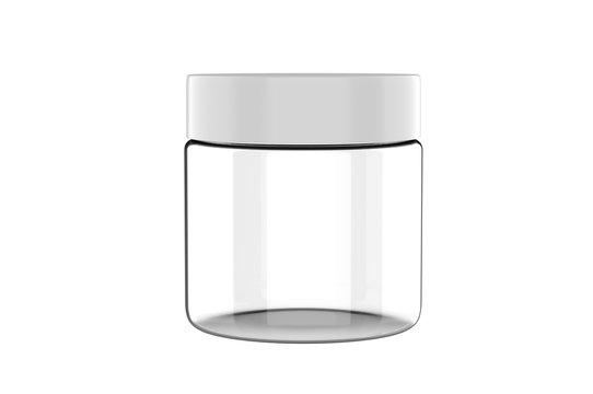 Blank plastic cosmetic jar realistic packaging mock up template, 3d rendering illustration.