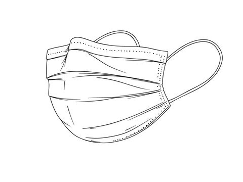 Surgical, Medical Face Mask that protects airborne diseases, viruses. Coronavirus. Defence from air pollution. Vector illustration
