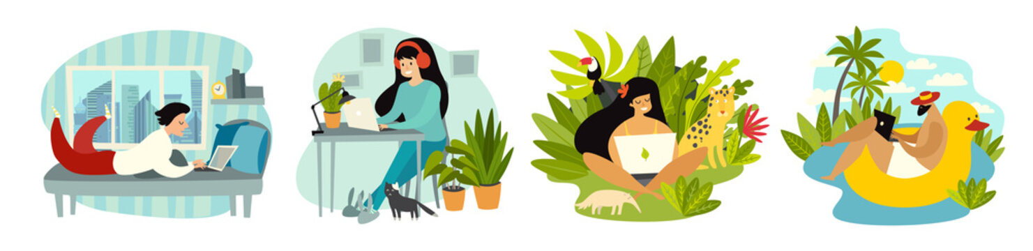 Stay home. Working at home. Freelancer people with laptop working vector illustration set. Digital nomad characters, home office and tropical workplace. Work on travel lifestyle concept