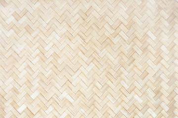 Obraz Wicker Thailand light wall. Mat background, bamboo natural texture - fototapety do salonu