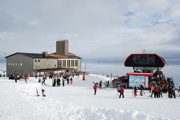 Photo sur Aluminium Europe de l Est View on the Skalnate Pleso Station in the High Tatras, Slovakia.