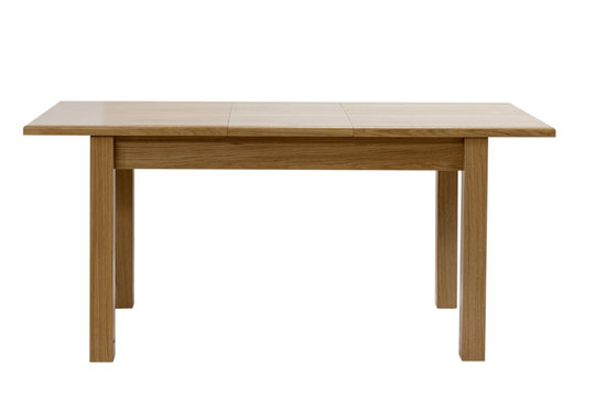Wooden modern table isolated on white background. Folding kitchen table, front view.