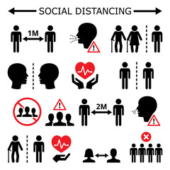 Social distancing during pandemic or epidemic vector icons set, keeping a distance between people, self-quarantine and self-isolation in society concept