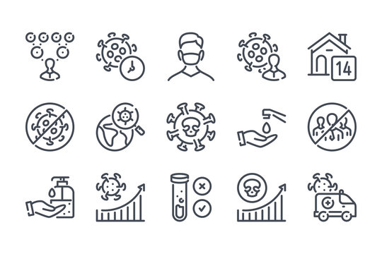 Transmission of coronavirus disease related line icon set. Coronavirus infection case rate linear icons. Coronavirus disease and quarantine outline vector signs and symbols collection.