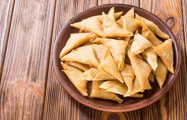 Traditional asian vegetarian food samosa