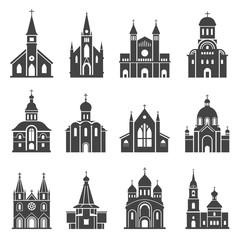 Church icon set, traditional religious spiritual building