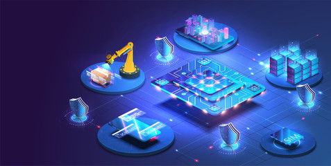 Internet of things abstract blue central processing unit isometric icon in center of background. Creation and optimization of the layout of the site interface.Artificial intelligence, machine learning