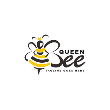 Queen Bee with Crown and Hive Logo Vector Illustrations