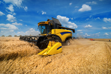 combine harvester harvesting cereals, sky with beautiful clouds Wall mural