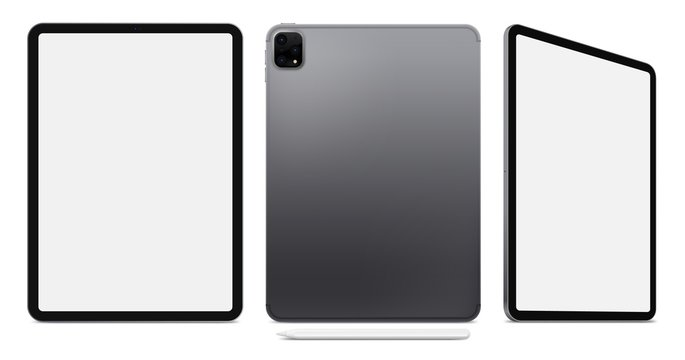 New Realistic Scalable Tablet 2020. Grey Space Gray Drawing Pad. Blank Screen Isolated. Front, Back, and Side Display View. High Detailed Device Mockup. Separate Groups and Layers. Editable Vector.