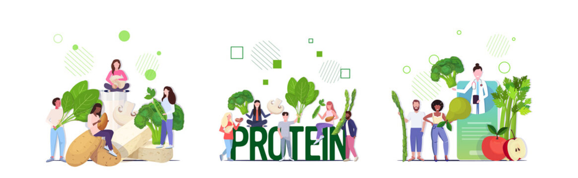 set doctor nutritionist explaining to patients properties of fresh vegetables fruits herbs seeds healthy nutrition vegan protein concept full length horizontal vector illustration