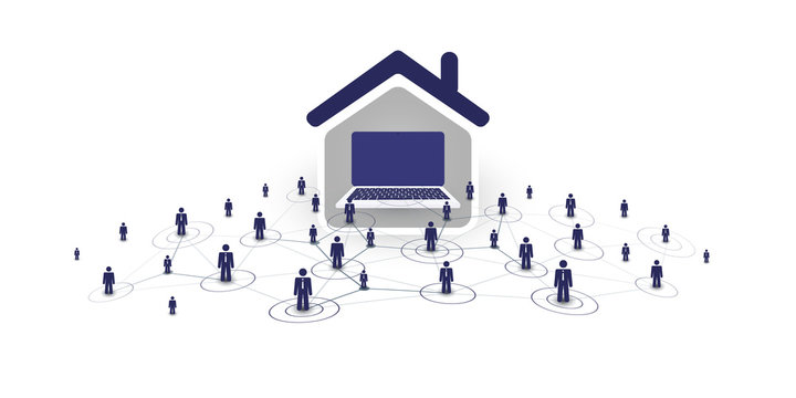Home Offices - People Work at Home and Make Social Connections Through the Internet - Design Concept with Symbolic Network of Houses, Computers Inside and a Businessmen Nodes - Vector Illustration