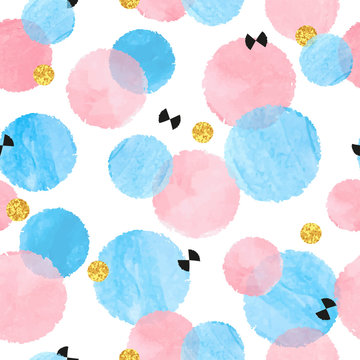 Abstract celebration background with pink and blue watercolor circles. Vector seamless pattern.