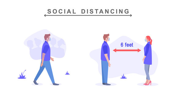 Social distancing during corona virus 2019-ncov. a man avoid the crowd, minimum distance of 6 feet. vector illustration