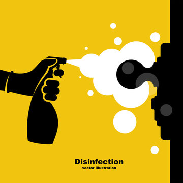 Close-up disinfection of door handles. Spraying disinfectant alcohol to the handle of a door. Vector illustration flat design. Black silhouette prevention icon. Controlling the epidemic of coronavirus