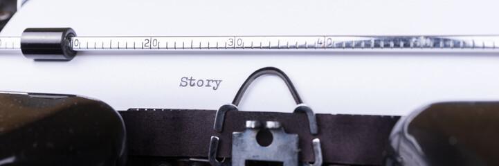 Story written on an old black typewriter