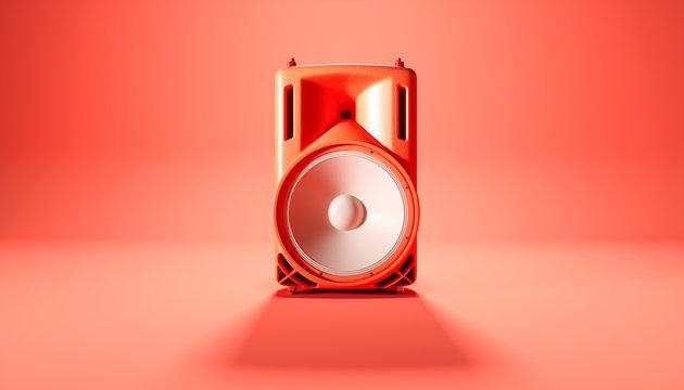 red speaker system on red background