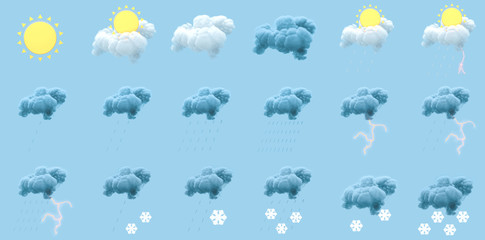 All kinds of weather conditions, weather forecast, 3d rendering. Wall mural