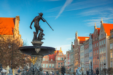 Fountain of Neptune in old town in Gdansk, symbol of the city. Poland