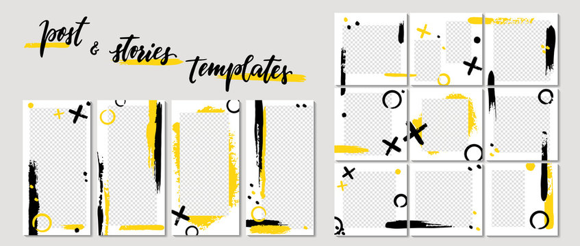 Trendy template for social networks stories and posts, vector illustration. Design backgrounds for social media. Mockup for personal blog or shop