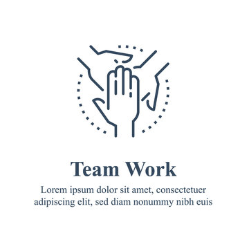 Team work, cooperation or collaboration, unity concept, employee engagement, crossed hand