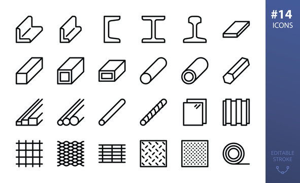 Rolled steel vector icons set. Set of metal products, steel angle, channel, rail, i beam, flat metal bar, steel tube, pipe, expanded metal, perforated sheet, bar grating, rebar, wire mesh line icon