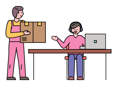 Worldwide delivery and shipment of cargo and freight. Courier with box talking to manager tracking truck transportation. Person with personal computer at work. Line art characters, vector in flat