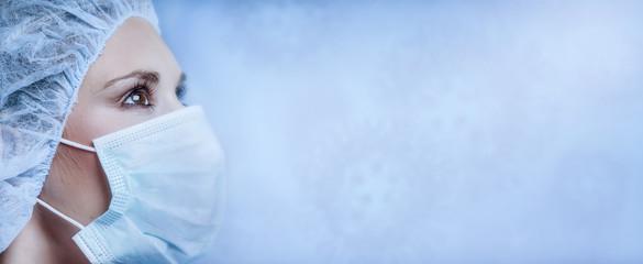 Corona virus - Ilustration picture, nurse wearing a mask,
