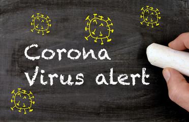 Chalkboard Corona virus alert with yellow virus design