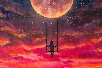Oil painting fantasy art. The illustration shows man girl who is riding on swing on big planet in beautiful pink sunset cosmos.