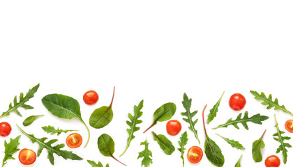 Fototapete - Vegetable frame with place for text: cherry tomatoes, lettuce, arugula, chard, mizuna, top view, flat lay. Vegetables isolated on a white background.