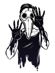 Symbol of a health crisis, epidemic virus disease outbreak as a human corpse monster in a plague doctor mask. Pandemic design, vintage goththic tattoo style. Zombie art. Isolated vector illustration.