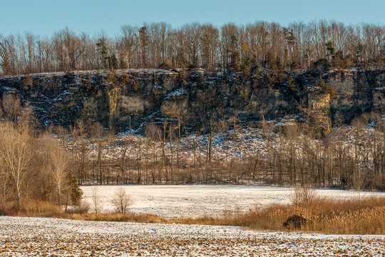 Ancient Bluffs of the 450 million year old Niagara Escarpment, as visible outside of De Pere, near Greenleaf, WI.