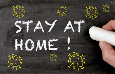 Chalkboard Coronavirus stay at home with yellow virus design