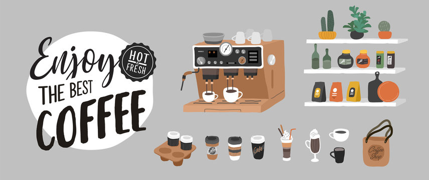 Coffee shop hand drawn collection . Cartoon constructor set. Small business, logo lettering and quote, coffee pots, dessert sweets, coffee machine and stand. Vector