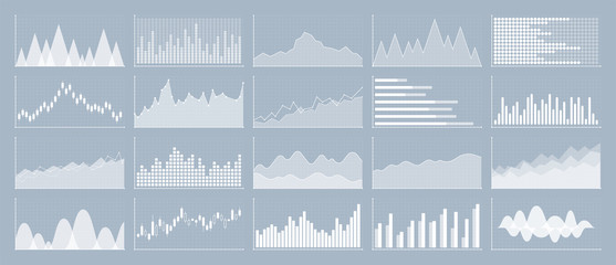 Graphs and charts templates. Big set business infographics. Statistic and data, information, economy. Financial chart. Vector illustration. Wall mural