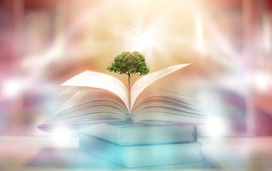 Imagine a picture book of an ancient book opened on a wooden table with a sparkling golden background. With magical power, magic, lightning around a glowing glowing book In the room of darkness Fotomurales
