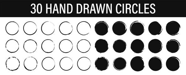 Wall Mural - Set of 30 Hand drawn circle. Drawning circle. Scribble doodle. Brush circle. Vector illustration.