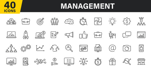 Set of 40 Management web icons in line style. Media, teamwork, business, planning, strategy, marketing. Vector illustration.
