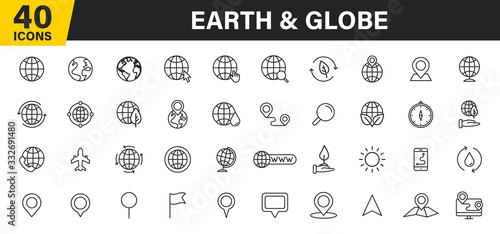 Wall mural Set of 40 Globe and earth planet web icons in line style. Navigational Equipment, Planet Earth, Airplane, Map. Vector illustration.