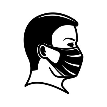 Man icon in a protective mask on a white background.
