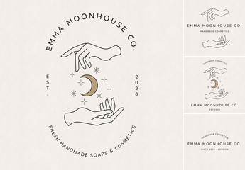 Hands and Moon Logo Set