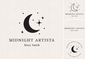Moon and Stars Logo Set