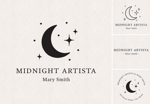 Moon and Stars Logo Set
