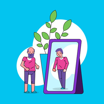 Psychology of self perception ego concept with old man looks into mirror and sees himself as boy in reflection line art cartoon vector illustration. Self-worth, self-esteem nostalgic look.