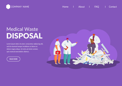 Medical waste, recycling garbage in medicine, biohazard material disposal in hospital with doctors, mini people flat web vector illustration. Ecologically dangerous waste website.