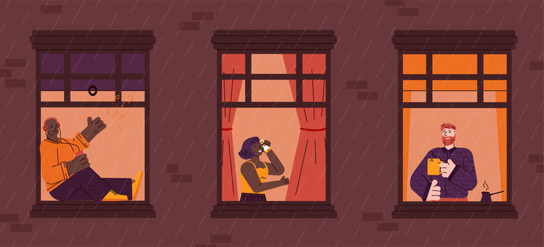 Windows with neighbors daily life in apartments, flat cartoon vector illustration.