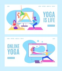 Yoga online with girls in meditation poses doing physical exercises and watching online classes via tablet or laptop, flat web vector illustration. Online yoga with instructor at home web banners set.